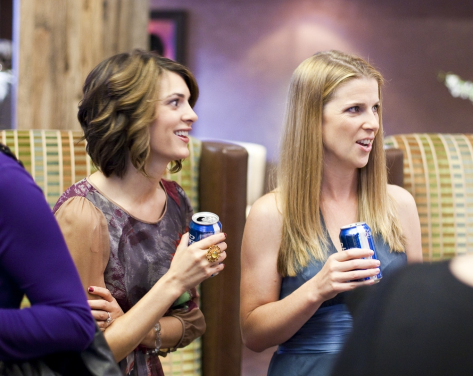 Connie and Lisa with a pair of Bud Lights
