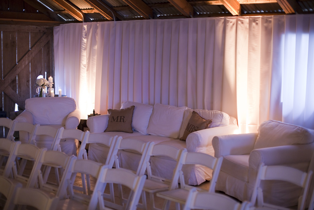 Couches in the barn where the wedding was held