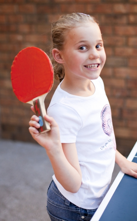 Grace at the table tennis table