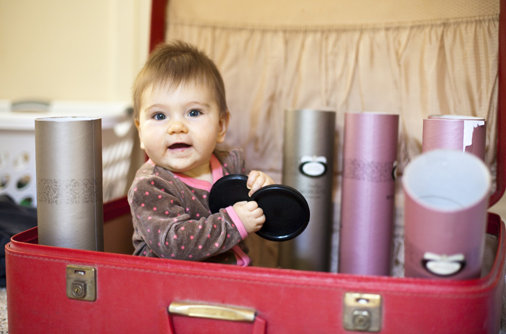Lilia helping to unpack the wine we brought home from Australia