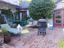 The back patio and firepit of the Healdsburg house