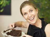 Lisa and her six layer chocolate and salted caramel cake