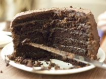 Lisa's six layer chocolate and salted caramel cake