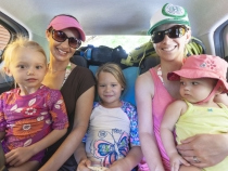 Sophia, Brooke, Anna, Lisa and Lilia crammed in the back of our rental car