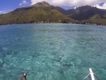View from the outrigger at one of our diving spots looking back at Moorea