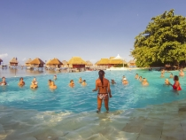 Afternoon water aerobics at the Moorea Pearl Resort