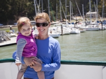 Lilia and Lisa on the ferry