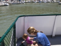 Lilia and Lisa exploring the ferry