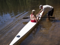 Graham readying Lisa for a paddle on the ski