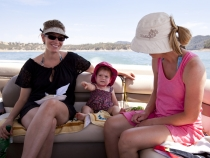 Michele, Lilia and Lisa on the boat in Heritage Ranch