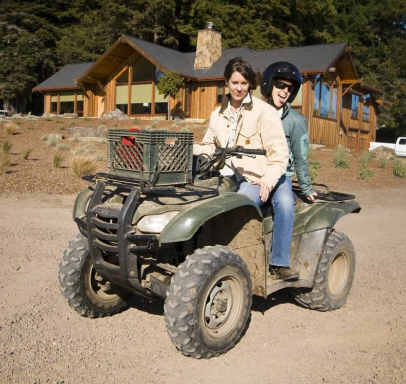 Michaela and Lisa on the four-wheeler