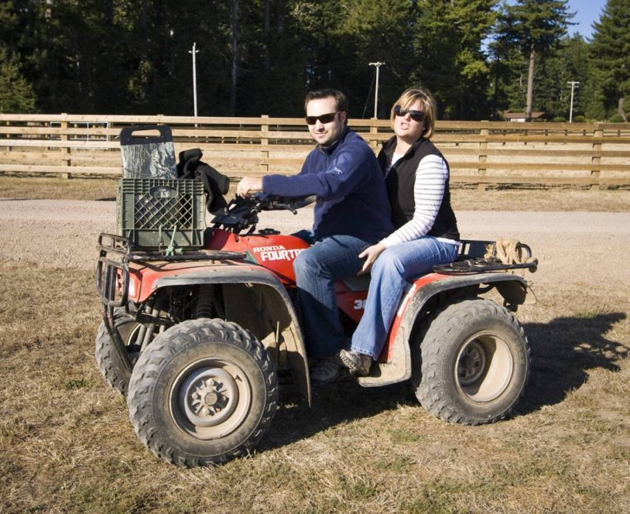 Jeffrey and Andi on the four-wheeler