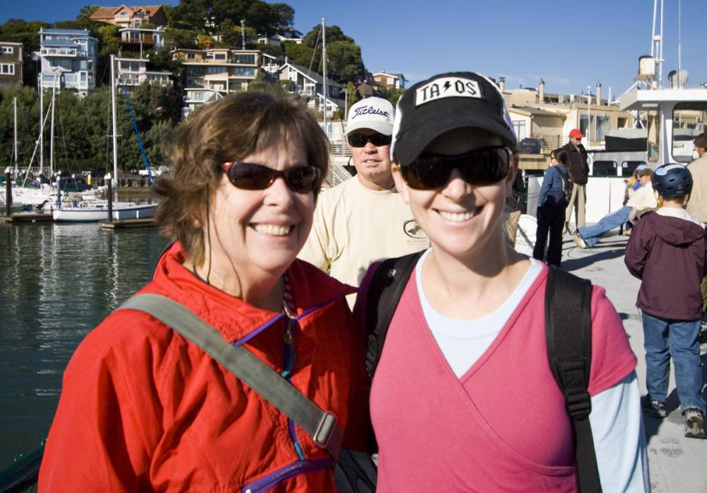 Carol and Lisa on the ferry to Angel Island