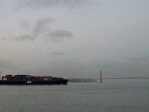 Freighter leaving San Francisco bay with the Golden Gate in the distance