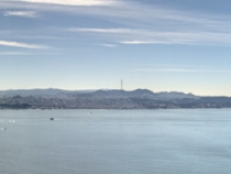 Panormaic encompassing the Bay Bridge, San Francisco and the Golden Gate Bridge