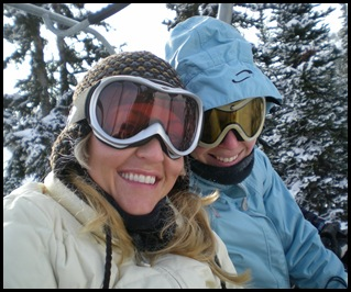 On the chairlift with Cheryl at Sunshine Village