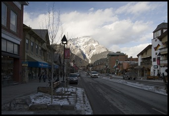 Downtown Banff at the intersection of Banff Avenue and Caribou Street