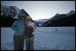 The girls with Lake Louise in the background
