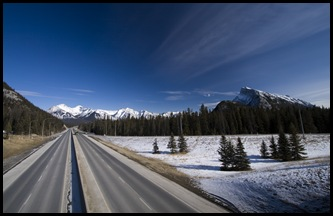 The Trans-Canada Highway as it makes its way through Banff
