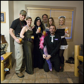 Everyone dressed up for our murder mystery evening