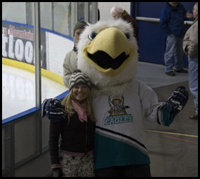 Cheryl with the Canmoe Eagles' mascot