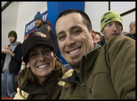 Luke and Katrina at the Canmore Eagles hockey game