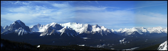 Panorama of the Bow River Valley with Lake Louise in the center, taken from the top of Lake Louise ski resort's gondola