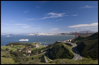 Downtown San Francisco and the Golden Gate Bridge from the SCA Trail