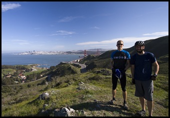 Sam and I with San Francisco and the Golden Gate Bridge in the background