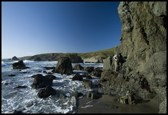 Paul making his way around the cliffs