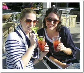 Tracy and Jackie sippin breakfast Bloody Marys