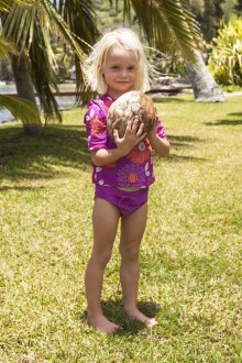 Sophia and a coconut