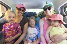 Sophia, Brooke, Anna, Lisa and Lilia crammed in the back of our