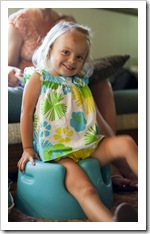 Gianna enjoying Lilia's Bumbo seat