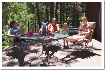 Margot, Jacque, Gianna and Lisa enjoying the deck