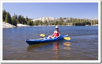 Lisa kayaking at Utica Reservoir