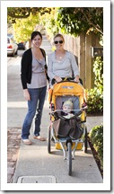 Sarah, Lisa and Lilia out for a walk to downtown Tiburon