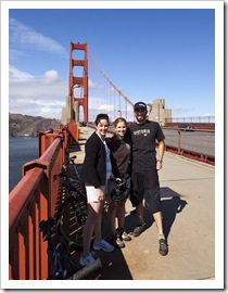Sarah, Lisa and Sam on the Golden Gate Bridge