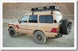 A diesel Land Cruiser at the entrance to Mosaic Canyon