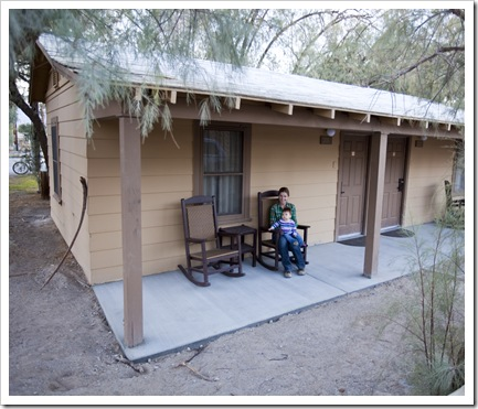 Lisa and Lilia in front of our cabin in Furnace Creek