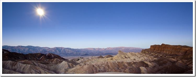 Moonlight over the Panamint Range and Golden Canyon before sunrise from Zabriskie Point