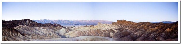 Moonlit Panamint Range and Golden Canyon from Zabriskie Point