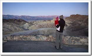 Lilia and Sam at Zabriskie Point before sunrise