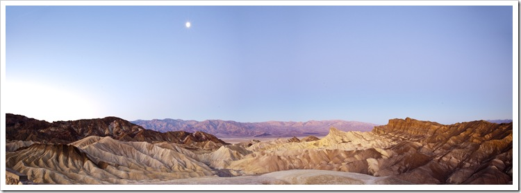Moonlight over the Panamint Range and Golden Canyon at sunrise from Zabriskie Point