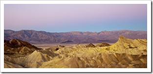 View of the Panamint Range and Golden Canyon at sunrise from Zabriskie Point