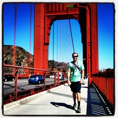 Kevin crossing the Golden Gate Bridge on day one