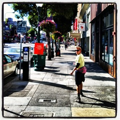 Kevin walking through downtown Berkeley on day two