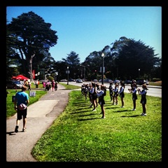 Kevin walking through one of the cheer squads in Golden Gate Park on day three