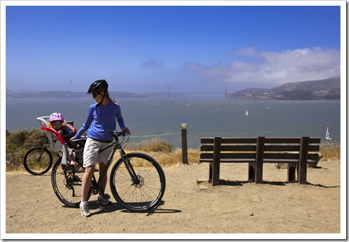 Lilia and Lisa on Angel Island with the Golden Gate Bridge in the distance