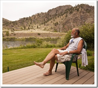 Alan enjoying the deck at the Quintero's after a day of riding